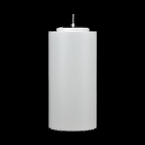 Luminaria Cilynder de techo con refrigerador pasivo sobredimensionado y posibilidad de configurar potencia y color de luz.